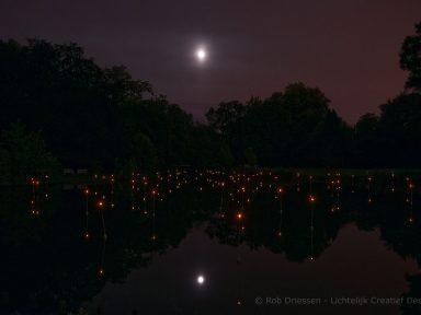lichtinstallatie vijver planet WOW
