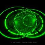 lichtkunst met groen laserlicht